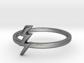 Lightning Bolt Ring (Troubled Waters Trio) in Polished Silver: 6 / 51.5