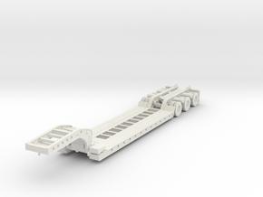 HO Scale Lowboy trailer in White Natural Versatile Plastic
