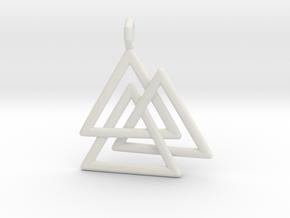 Vikings Valknut Pendant in White Natural Versatile Plastic