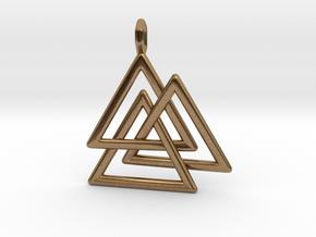Vikings Valknut Pendant in Natural Brass
