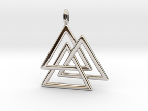Vikings Valknut Pendant in Rhodium Plated Brass
