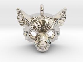 Lemur Pendant in Rhodium Plated Brass