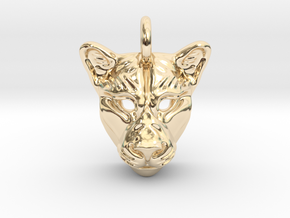 Lioness Pendant in 14K Yellow Gold