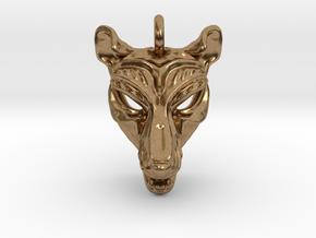 Thylacine (tasmanian tiger) Pendant in Natural Brass