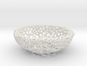 Bowl (19 cm) - Voronoi-Style #2 in White Natural Versatile Plastic
