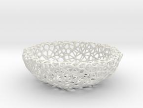 Fruit bowl (22 cm) - Voronoi-Style #2 in White Natural Versatile Plastic