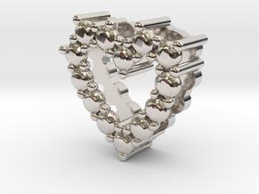 "Pendentif Heart, small ""diamonds"" in Rhodium Plated Brass"