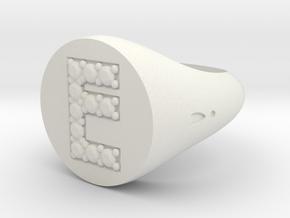 "Ring Chevalière Initial ""E"" in White Natural Versatile Plastic"