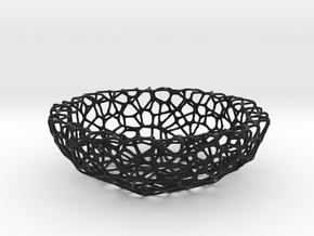 Mini Key shell / bowl (8 cm) - Voronoi-Style #1 in Black Natural Versatile Plastic