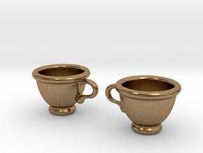 Coffee Cups Earrings in Natural Brass