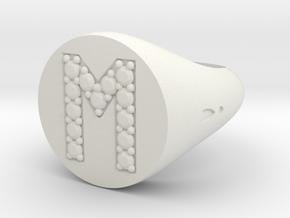 """Ring Chevalière Initial """"M""""  in White Natural Versatile Plastic"""