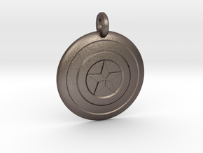 Captain America Shield Keychain in Polished Bronzed Silver Steel