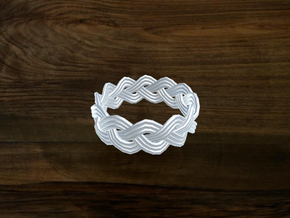 Turk's Head Knot Ring 3 Part X 12 Bight - Size 9.5 in White Natural Versatile Plastic