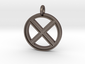 X-Men Keychain in Polished Bronzed Silver Steel