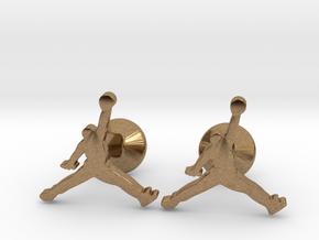 Jumpman Cufflinks in Natural Brass