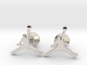 Jumpman Cufflinks in Rhodium Plated Brass
