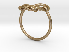 Heart Knot Ring in Polished Gold Steel