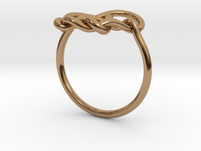 Heart Knot Ring in Polished Brass