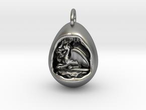 Dragon Cave Pendant in Natural Silver