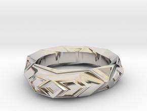 Fractal polygon ring (size 8.5 default) in Platinum