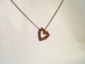 """Pendentif Heart, small """"diamonds"""" in 14k Rose Gold Plated Brass"""