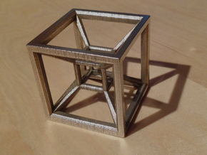 Tesseract in Polished Bronzed Silver Steel