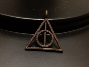 The Deathly Hallows Keychain/Pendant in Polished Bronze Steel