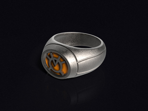 Orange Lantern Ring in Polished Bronzed Silver Steel