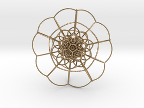 120-Cell on Hypersphere, Stereographic Projection  in Polished Gold Steel