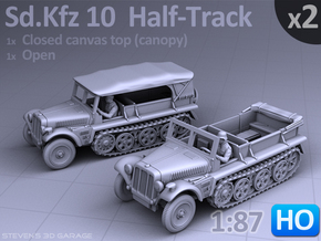 Sd.Kfz 10 - Half-Track  (2 pack) HO in Smooth Fine Detail Plastic