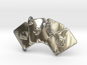 Aces Belt Buckle in Fine Detail Polished Silver