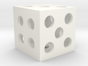 Hollow Square Dice in White Strong & Flexible Polished