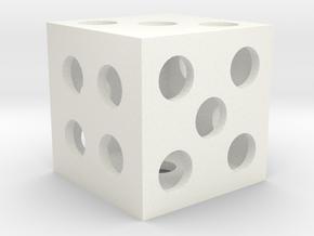 Hollow Square Dice in White Processed Versatile Plastic