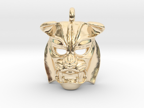 Tiger kabuki-style Pendant small in 14K Yellow Gold