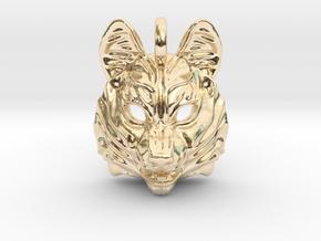 Siberian Husky Small Pendant in 14k Gold Plated Brass