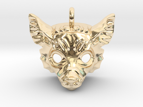 Lemur Small Pendant in 14k Gold Plated Brass