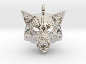 Fox Type 2 Small Pendant in Rhodium Plated Brass