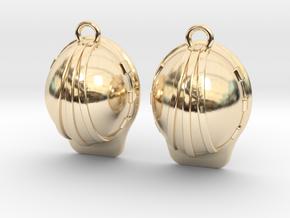 Hard Hat Earrings in 14k Gold Plated Brass