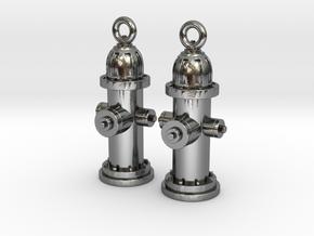 Fire Hydrant Earrings in Polished Silver