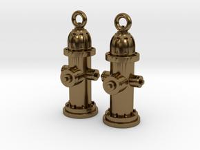 Fire Hydrant Earrings in Polished Bronze