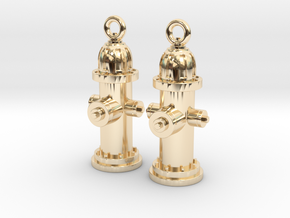 Fire Hydrant Earrings in 14k Gold Plated Brass