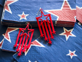 Stars And Stripes Earrings (for Hooks) in Red Processed Versatile Plastic