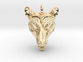 Thylacine (tasmanian tiger) Small Pendant in 14K Yellow Gold