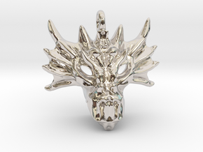 Aegis Dragon Small Pendant in Rhodium Plated Brass
