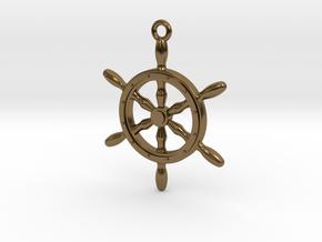 Nautical Steering Wheel Pendant in Polished Bronze