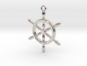 Nautical Steering Wheel Pendant in Rhodium Plated Brass