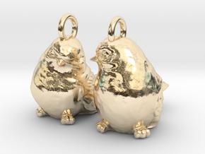 Birds Earrings in 14k Gold Plated Brass