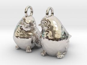 Birds Earrings in Rhodium Plated Brass