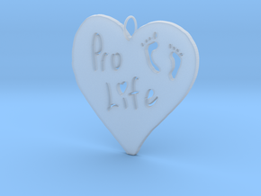 Pro Life Heart Pendant in Smooth Fine Detail Plastic
