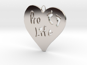Pro Life Heart Pendant in Rhodium Plated Brass